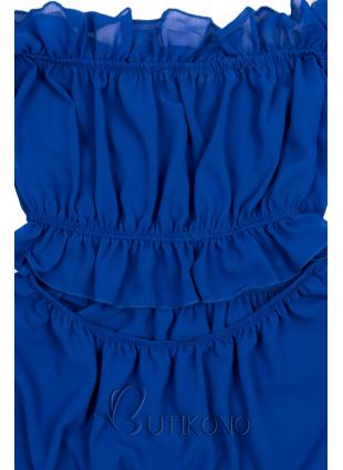 Kobaltově modré letní dlouhé šaty