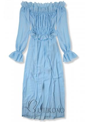 Baby blue letní dlouhé šaty
