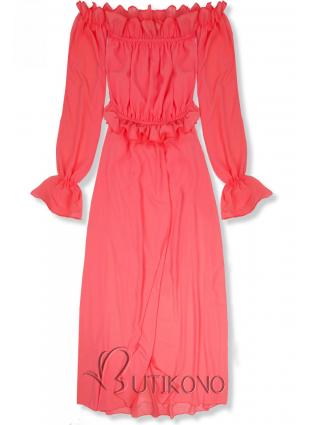 Korálové letní dlouhé šaty