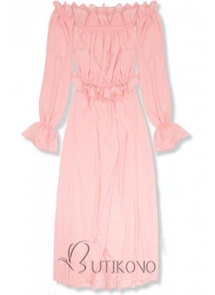 Pudrově růžové letní dlouhé šaty