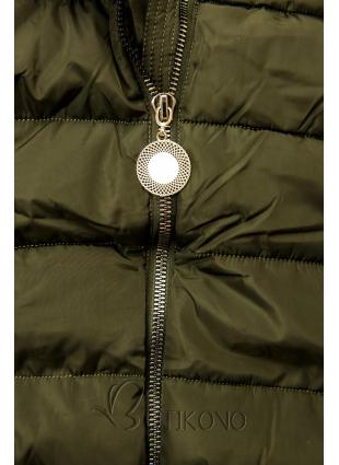 Khaki bunda s prodlouženými rukávy