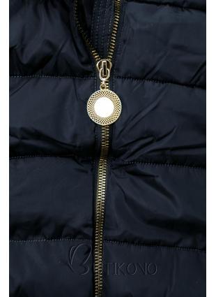 Tmavě modrá bunda s prodlouženými rukávy
