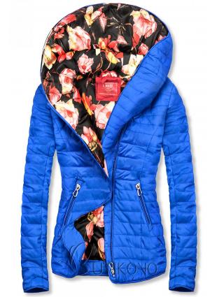 Modrá bunda s květinovou podšívkou od LHD