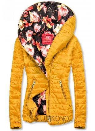 Žlutá bunda s květinovou podšívkou od LHD