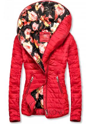 Červená bunda s květinovou podšívkou od LHD