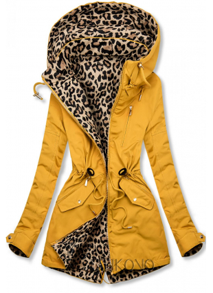 Žlutá oboustranná parka s leopardím vzorem