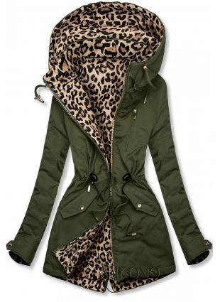 Khaki oboustranná parka s leopardím vzorem
