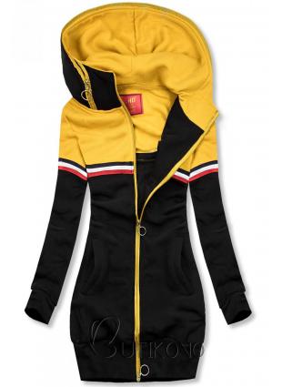Prodloužená mikina černá/žlutá