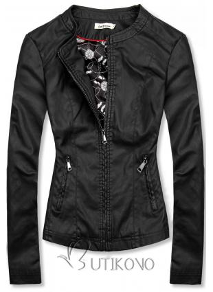 Černá koženková bunda se vzorovanou podšívkou