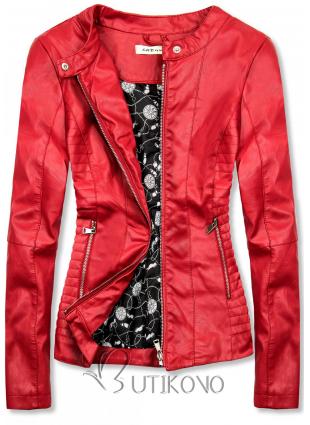 Červená koženková bunda