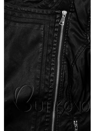 Černá koženka se šikmým zipem