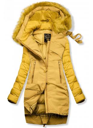 Zimní prošívaná bunda žlutá