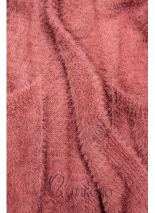 Růžový dlouhý kardigan