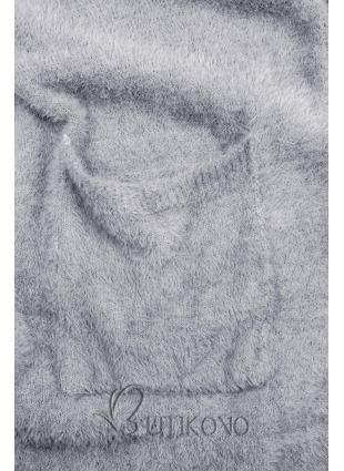 Šedomodrý dlouhý kardigan