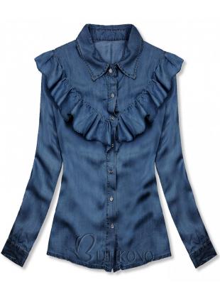 Jemná košile z lyocellu tmavě modrá