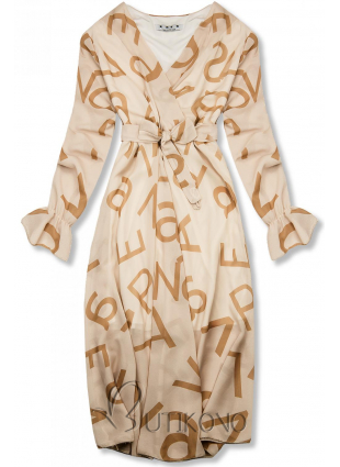 Béžové midi šaty s potiskem písmen