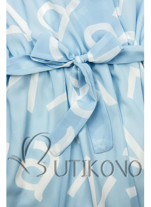 Bledě modré midi šaty s potiskem písmen