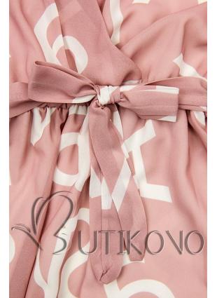 Světle růžové midi šaty s potiskem písmen