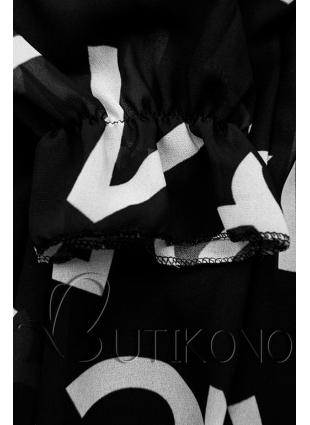 Černé midi šaty s potiskem písmen