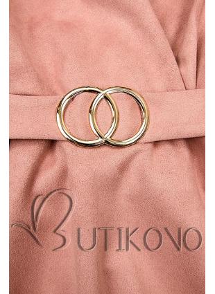 Růžové šaty s nabíranými rukávy