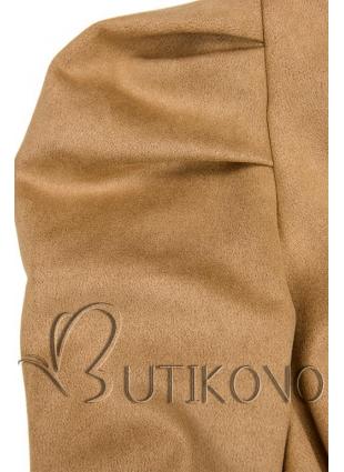 Hnědé šaty s nabíranými rukávy