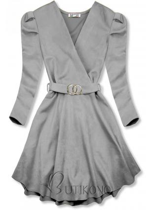Šedé šaty s nabíranými rukávy