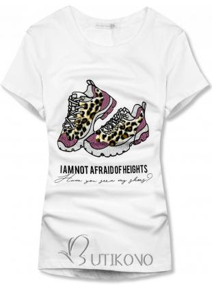 Bílé dámské tričko s motivem bot