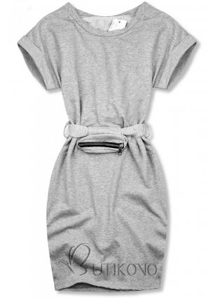 Šedé basic šaty s malou taškou v pase
