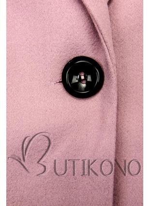 Růžový jarní kabát se zapínáním na knoflík