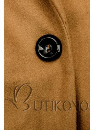 Hnědý jarní kabát se zapínáním na knoflík