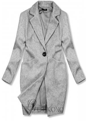 Šedý jarní kabát se zapínáním na knoflík