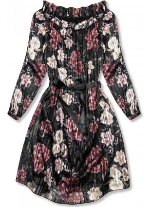 Černé květinové šaty se stuhou v pase