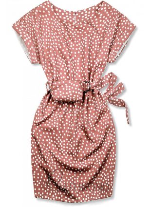 Starorůžové tečkované šaty s taškou v pase