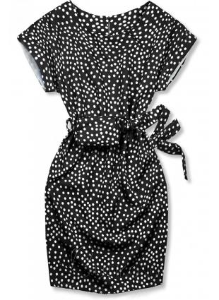 Černé tečkované šaty s taškou v pase