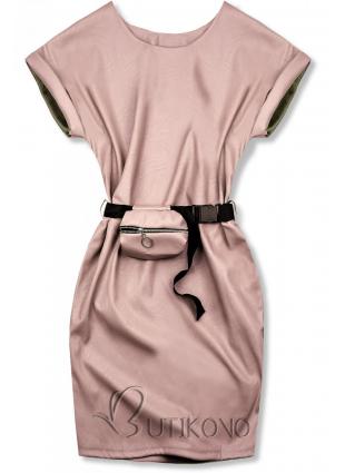 Světle růžové koženkové šaty