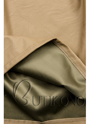 Béžové koženkové šaty