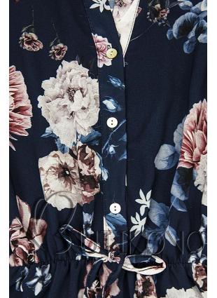 Květinové midi šaty tmavě modré