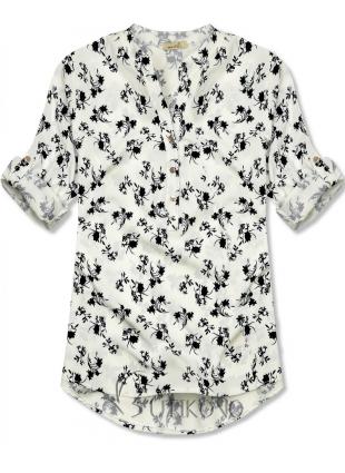 Bílo-černá košile s květinovým vzorem