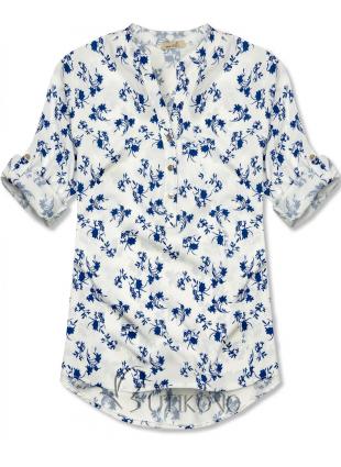 Bílo-modrá košile s květinovým vzorem