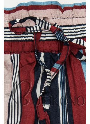 Bordó-modré pruhované šortky s krajkou