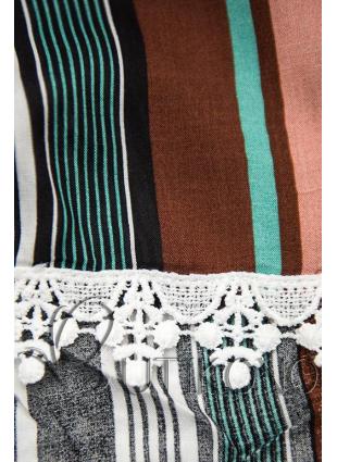 Hnědo-zelené pruhované šortky s krajkou
