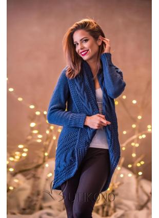 Jeans modrý pletený svetr