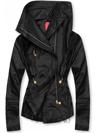 Černá koženková bunda s vysokým límcem