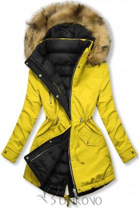 Zimní parka oboustranná žlutá/černá