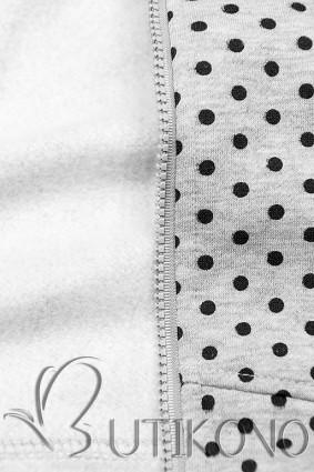 Světle šedá prodloužená tečkovaná mikina