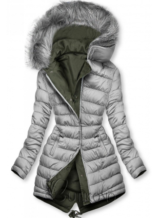 Oboustranná zimní parka khaki/šedá