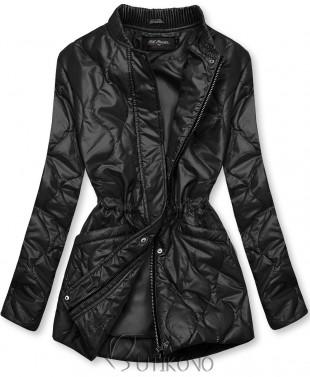 Černá prošívaná bunda bez kapuce