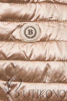 Bronzová prošívaná bunda se vzorovanou podšívkou