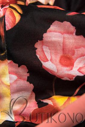Tepláková souprava s květinovou podšívkou meruňková/grafit