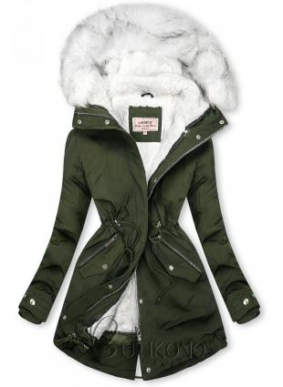 Khaki/bílá parka na zimu s odepínatelným futrem